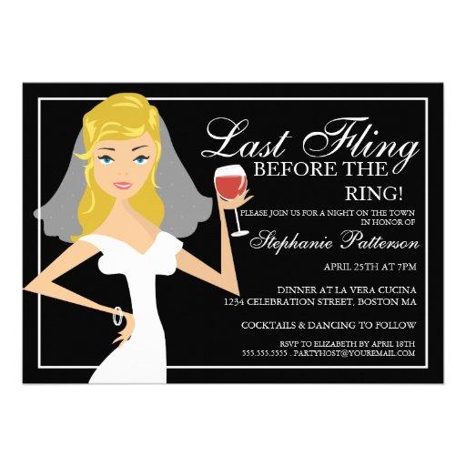 Modern Bride Last Fling Bachelorette Party Custom Invitations