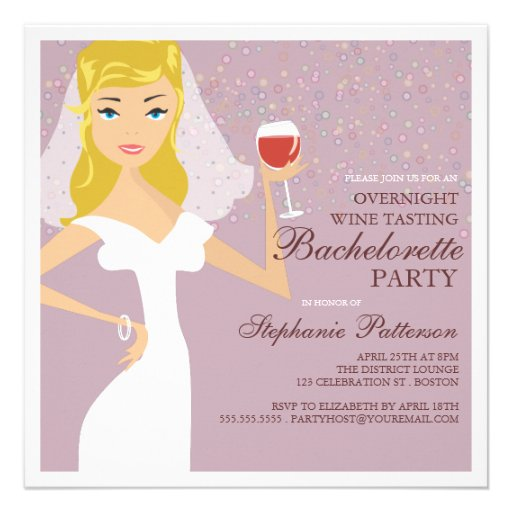 Modern Bride Wine Tasting Bachelorette Party Custom Announcements
