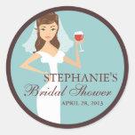 Modern Bride Wine Theme Bridal Shower Favour Round Sticker