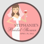Modern Bride Wine Theme Bridal Shower Favour Round Sticker