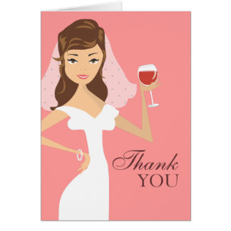 Modern Bride Wine Theme Thank You Card | Pink