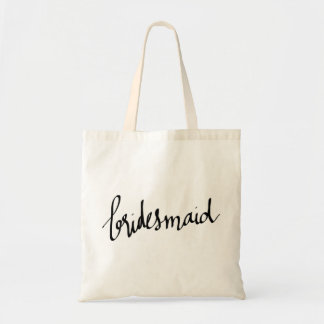 Modern Bridesmaid Script Typography Budget Tote Bag
