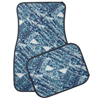 Modern Bright Blue Bold Boshi Shibori Block Print Floor Mat