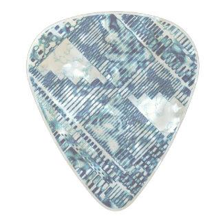 Modern Bright Blue Bold Boshi Shibori Block Print Pearl Celluloid Guitar Pick
