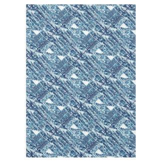 Modern Bright Blue Bold Boshi Shibori Block Tile Tablecloth
