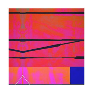 Modern Bright Blue Orange Pink Block Abstract -2 Canvas Print