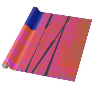 Modern Bright Blue Orange Pink Block Abstract Wrapping Paper