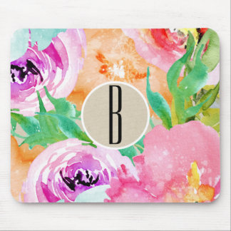 Modern Bright Colorful Floral Watercolor Kraft Mouse Pad