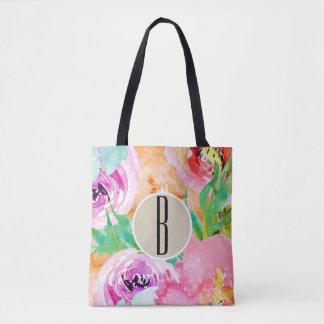Modern Bright Colorful Floral Watercolor Kraft Tote Bag