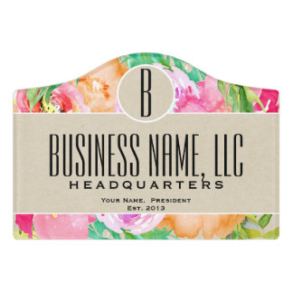 Modern Bright Colorful Spring Floral Watercolor Door Sign