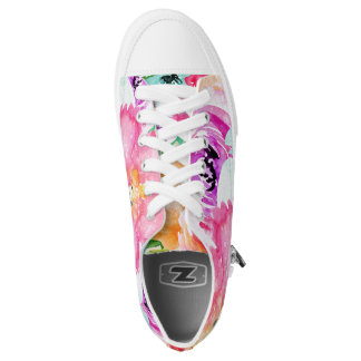 Modern Bright Colorful Spring Floral Watercolor Low Tops