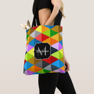Modern bright colorful triangles pattern Monogram Tote Bag