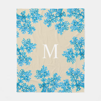 Modern Bright Cyan Blue Flower Buds | Monogram Fleece Blanket