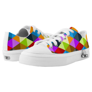 Modern bright funky colorful triangles pattern low tops
