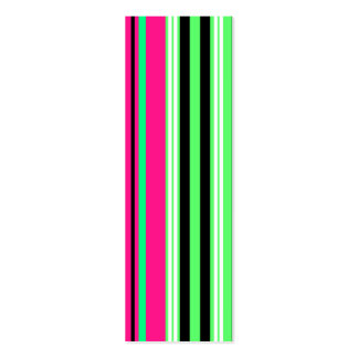 Modern bright green pink and black stripes pack of skinny business cards