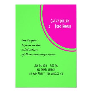 Modern Bright Green Pink Circle Wedding Custom Invitations