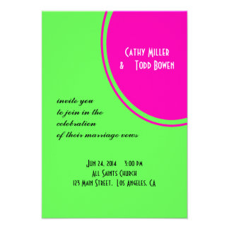 Modern Bright Green Pink Circle Wedding Personalized Announcements