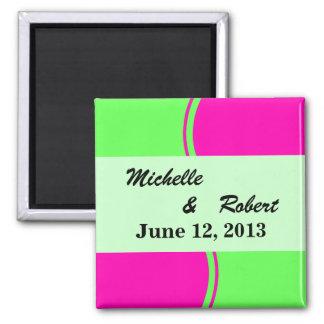 Modern Bright Green Pink Circle Wedding Refrigerator Magnet