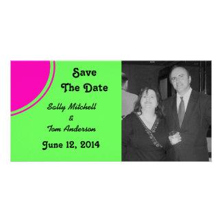 Modern Bright Green Pink Circle Wedding Photo Cards