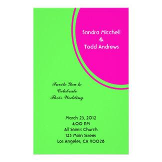 Modern Bright Green Pink Circle Wedding Customized Stationery
