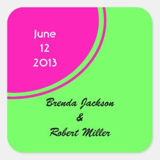Modern Bright Green Pink Circle Wedding Square Stickers
