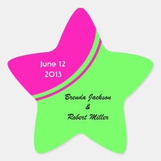 Modern Bright Green Pink Circle Wedding Star Sticker