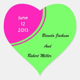 Modern Bright Green Pink Circle Wedding Heart Stickers