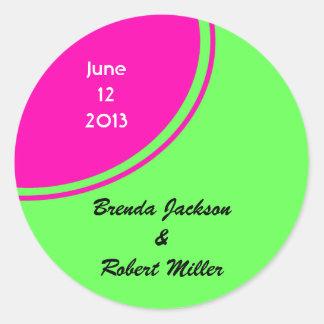 Modern Bright Green Pink Circle Wedding Classic Round Sticker