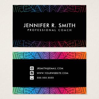 Modern Bright Mandala Graphic Black Business Cards