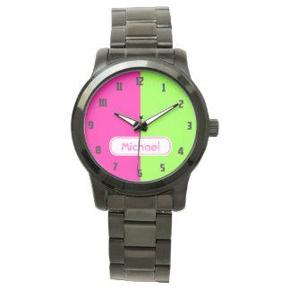 Modern Bright Neon Pink Green Monogram Watch