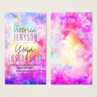 Modern bright pastel nebula watercolor yoga business card