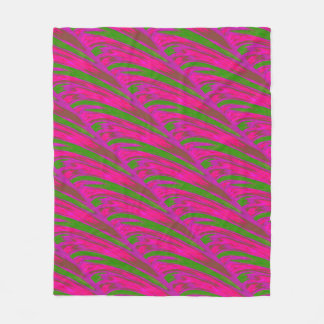 Modern Bright Pink Green Color Swish Fleece Blanket