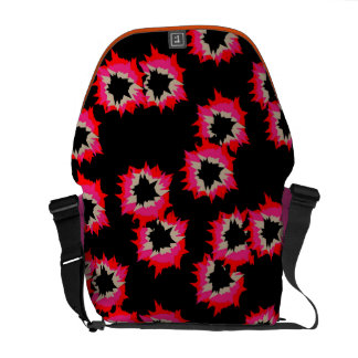 Modern Bright Pink Orange Funky Abstract Pattern Messenger Bags