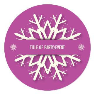 Modern Bright Pink Snowflake Christmas Party 13 Cm X 13 Cm Square Invitation Card