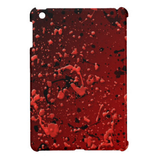 Modern Bright Red Black Paint Splatter iPad Mini Covers