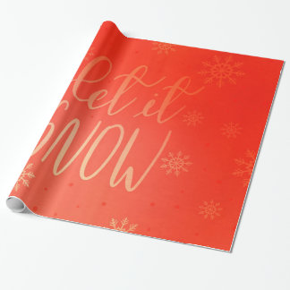 Modern Bright Red Let It Snow Handwritten Chic Wrapping Paper