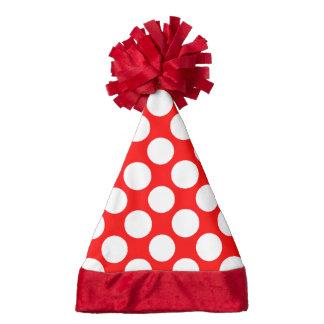 Modern Bright Red White Polka Dots Pattern Santa Hat