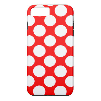 Modern Bright Red White Polka Dots Pattern iPhone 7 Plus Case