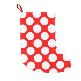 Modern Bright Red White Polka Dots Pattern Small Christmas Stocking