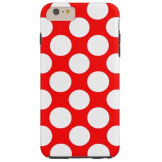 Modern Bright Red White Polka Dots Pattern Tough iPhone 6 Plus Case