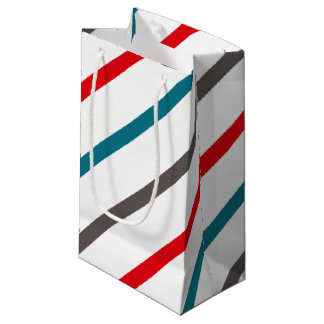 Modern Bright Stripes Blue Coral Grey Pattern Small Gift Bag