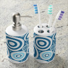 Modern Bright Teal Blue Circles Abstract Art Soap Dispenser And Toothbrush Holder