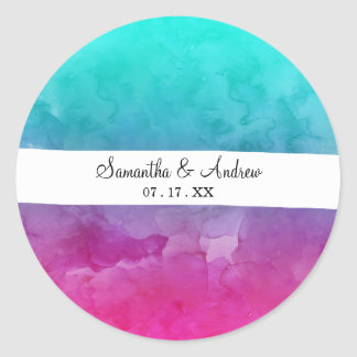 Modern bright turquoise pink watercolor ombre classic round sticker