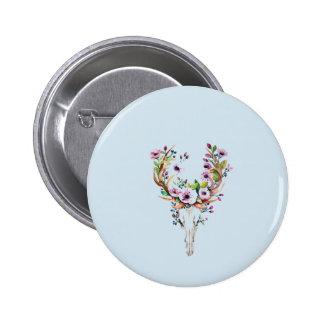 modern bright watercolor deer skull with flowers 6 cm round badge
