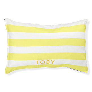 Modern Bright Yellow Stripes Pattern Personalized Pet Bed