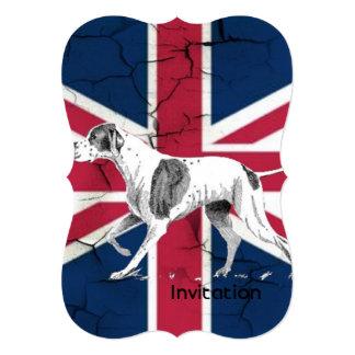 modern british flag union jack english hunt dog 13 cm x 18 cm invitation card