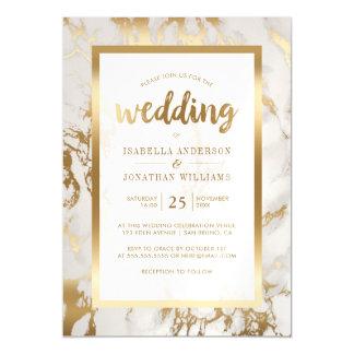 Modern Bronze & Marble Wedding Magnetic Card