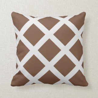 Modern Brown and White Criss Cross Stripes Cushion