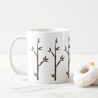 Modern Brown Bamboo Shoots and Leaves Silhouette Coffee Mug
