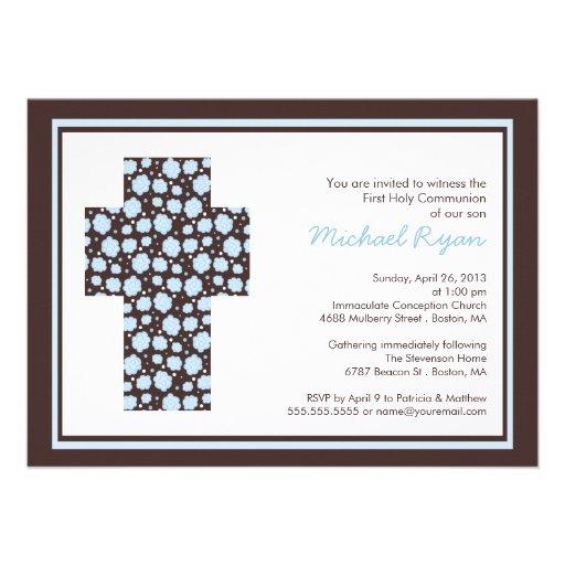 Modern Brown Blue Cross Boys  CommunionInvitation Personalized Invitation